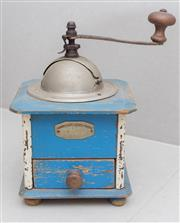 Sale 8530A - Lot 237 - An early French coffee grinder with original blue paint finish, H 24 cm x W 15cm