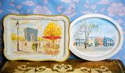 Sale 8577 - Lot 17 - A vintage pair of scenic Willow metal breakfast trays, one rectangle with fold out metal stand, W 40 x D 32cm and tray with stand, W...
