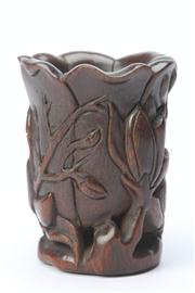 Sale 8670 - Lot 120 - Carved Chinese Brush Pot (Mark to Base ( H 14cm)