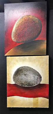 Sale 8941 - Lot 2078 - 2 Art Works L Woodham, Abstracts, Signed on side, 84x71cm