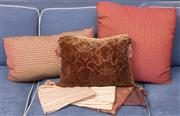 Sale 9044H - Lot 72 - Three elegant custom made cushions and covers in russet tones together with four extra silk covers including  one cushion from ABC I...
