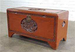 Sale 9166 - Lot 1035 - Carved Chinese camphorwood trunk (h:50 x w:91 x d:40cm)