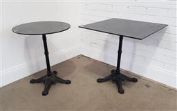 Sale 9174 - Lot 1469 - Square and round cast iron base table (h73 x 74cm)