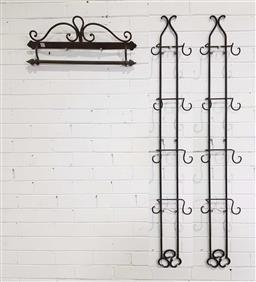 Sale 9188 - Lot 1794 - Pair of wall mount plate stands & metal towel rail (h147cm)