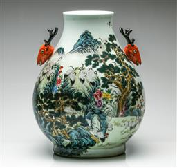 Sale 9192 - Lot 84 - A Large Chinese Vase with Twin Deer Head Handles (H:48cm)