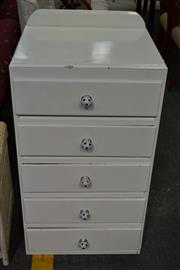 Sale 8115 - Lot 1278 - Painted Timber Chest of 5 Drawers w Soccerball Handles
