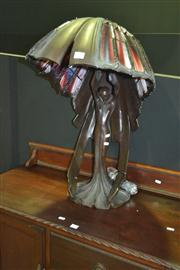 Sale 8165 - Lot 1008 - Very Impressive Lead Light Shade Table Lamp on Figural Base