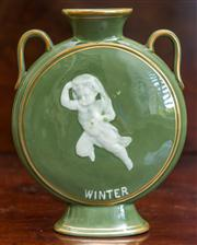 Sale 8284A - Lot 35 - A George  Jones celadon glazed twin handled moon flask vase with a pate - sur - pate  figure titled