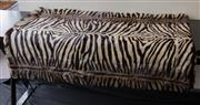 Sale 8310A - Lot 30 - A zebra print suede backed genuine rabbit fur throw by Casador measuring 200 x 240cm