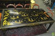Sale 8386 - Lot 1012 - Black Oriental Dining Table with Decorative Finish