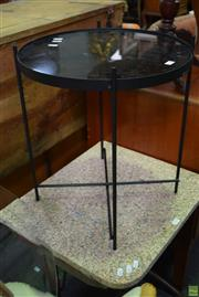 Sale 8566 - Lot 1563 - Metal and Glass Side Table