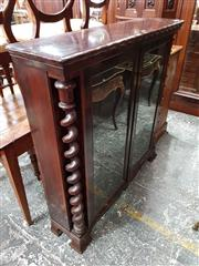 Sale 8728 - Lot 1012 - Victorian Rosewood Dwarf Bookcase, with two glass panel doors flanked by barley twist columns