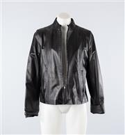 Sale 8760F - Lot 176 - A black leather jacket by Ottoman, approx size 10-12