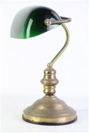 Sale 8887 - Lot 17 - Bankers Lamp With Green shade H: 38cm