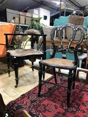 Sale 8942 - Lot 1085 - Victorian Ebonised & Inlaid Chair (BH: 81cm) Together with Elbow Chair