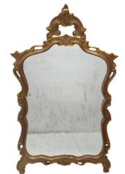 Sale 9015J - Lot 135 - An Antique French / Italian carved gilt wood mirror with aged glass - Approx. 140 x 77 cm