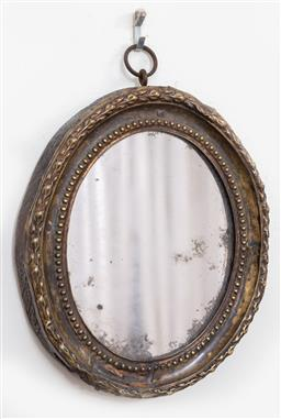 Sale 9120H - Lot 362 - An oval mirror of diminutive size. Height 18cm