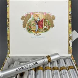 Sale 9120W - Lot 1404 - Romeo y Julieta 'Churchills' Anejados Cuban Cigars - box of 25 tubos, dated May 2009, with slip cover
