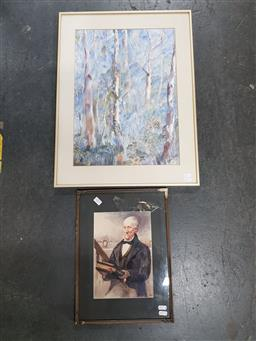 Sale 9155 - Lot 2071 - Early watercolours Ghost Gums & A Court Scene, largest: 62 x 47 cm -