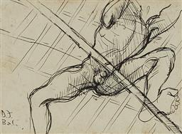Sale 9178 - Lot 595 - DONALD FRIEND (1915 - 1989) Nude from Below, Bali ink 13 x 17.5 cm (frame: 40 x 44 x 3 cm) signed lower left