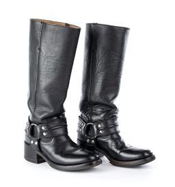 Sale 9221 - Lot 394 - A PAIR OF BLACK LEATHER LADIES BIKER STYLE BOOTS; pull up calf length boots, hight 35cm, with silver tone hardware size 38 (245mm),...