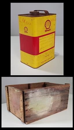 Sale 9215 - Lot 1522 - Vintage timber shell crate with shell petrol tin (h27 x w56 x d28cm)
