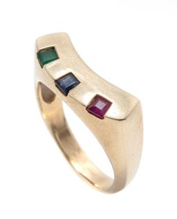 Sale 9253J - Lot 337 - A 9CT GOLD GEMSET RING; curved top set with carre cut treated ruby, sapphire and an emerald (worn), width 7.7mm, size O, wt. 5.89g.