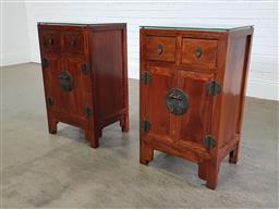 Sale 9255 - Lot 1351 - Pair of Chinese bedside chests (h:82 x w:49 x d:40cm)