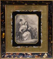 Sale 7379B - Lot 18 - The Queen in the Scottish Highlands, Antique engraving in tortoise shell frame, 23 x 17cm