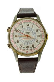 Sale 8522A - Lot 31 - A vintage two button chronograph wristwatch, circa 1950s, with tachymeter, dial large 38 mm, hand winding, in working order.