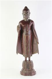 Sale 8802 - Lot 45 - Burmese Teak Buddha on Lotus Pedestal in Red Tone H:70 cm