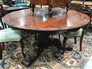 Sale 8882 - Lot 1046 - Victorian Rosewood Round Supper Table, on turned pedestal with three outswept feet