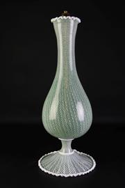 Sale 8887A - Lot 659 - A Large Green and White Ribbon Pattern Footed Lamp Base (H55cm, A/F untested with some repairs)