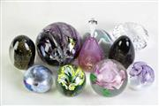 Sale 8905 - Lot 86 - Collection of artglass paperweights (9), inc signed examples (one AF) together with a pear themed scent bottle