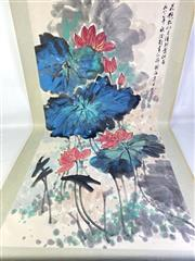 Sale 8909S - Lot 607 - Large Hand Painted Chinese Scroll Featuring Lotus Flowers
