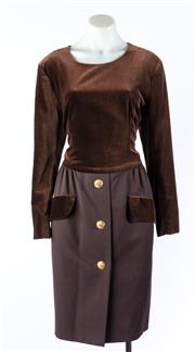 Sale 9003F - Lot 40 - A Vintage Carven Paris Brown Velvet Dress, size 42 (some wear on neckline)