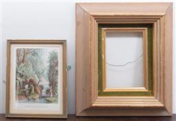 Sale 9120H - Lot 363 - A hand coloured engraving of a scene of the west indies in a gilt frame. 23 x 20cm