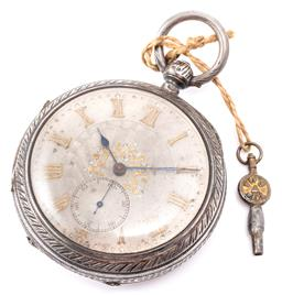 Sale 9140 - Lot 375 - AN ANTIQUE STERLING SILVER OPEN FACE DESK WATCH; decorative dial with applied gilt Roman numerals, subsidiary seconds, blued hands,...