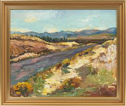 Sale 9099 - Lot 58 - Mary Kellick, country road, oil board, singed lower right, 49cm x 59cm