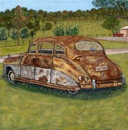 Sale 9256A - Lot 5096 - STANLEY PERL (1942 - ) Rusty Vintage Car acrylic on canvas 61 x 61 cm signed and titled verso
