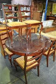 Sale 8105 - Lot 1038 - Dining Setting inc Circular Dining Table on Quadraform Base & 6 Ladder-back Chairs on Cabriole Legs