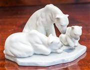 Sale 8284A - Lot 67 - A charming Lladro porcelain group of 2 polar bears and cub fishing. L: 16cm