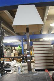 Sale 8352 - Lot 1087 - Timber and Chrome Base Modern Table Lamp