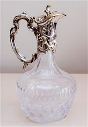 Sale 8369A - Lot 45 - A Whitehill EP and crystal claret jug in Rococo style, H 38cm