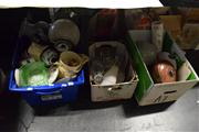 Sale 8405 - Lot 2246 - 3 Boxes of Sundries incl. Crystalwares, Ceramics, Shades, etc