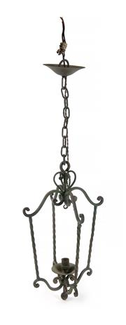 Sale 8422A - Lot 50 - A French early C20th wrought iron hanging lantern, wired, height 70cm with chain