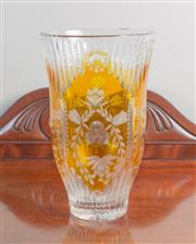 Sale 8470H - Lot 86 - A large Bohemian cut glass cased vase with amber hue, H 30cm