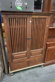 Sale 8566 - Lot 1330 - Indonesian Style Entertainment Cabinet with Two Doors & Drawers (157 x 107 x 64)
