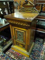 Sale 8653 - Lot 1015 - Late Victorian Ash & Carved Walnut Bedside Cabinet, by G. Bartholomew & Co, Finsbury London, with low back, shaped drawer & panel door