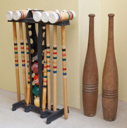 Sale 8677B - Lot 837 - A Franklin croquet set together with wooden juggling pins, height of pins 63cm